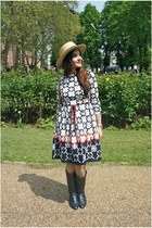 light yellow asos hat - navy Bally boots - navy vintage dress