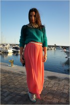 aquamarine H&M sweater - salmon River Island skirt