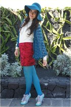 teal Primark hat - brick red Primark skirt - teal pull&bear cape