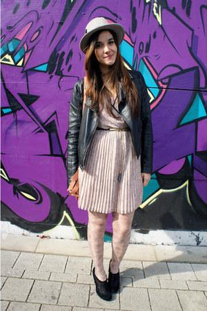 light pink Primark dress - silver Topshop hat - black Topshop jacket