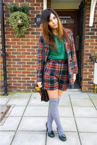 ruby red Topshop jacket - ruby red Topshop shorts - gray Miss Sixty socks