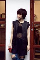 black DIY jacket - ruby red vagabond boots - blue thrifted jeans - black DIY top