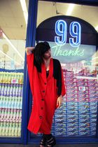 red Vintage JP Dresses coat - black - black Forever 21 shoes - black Sonia Rykie