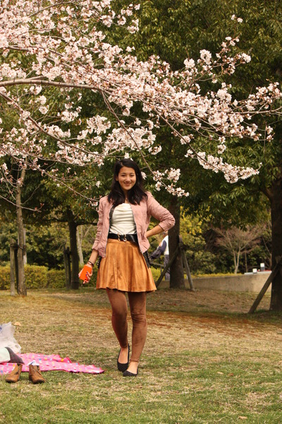 skirt - sakura velvety Forever21 coat - velvety leggings - shirt - vintage belt