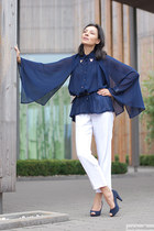 navy Newchic blouse