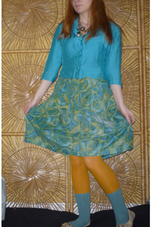 lime green high waisted vintage skirt - teal vintage blazer - mustard tights