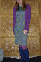 lime green 60s mod vintage dress - blue boots - amethyst tights
