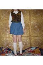 white collared vintage blouse - ivory lace socks - navy yomyom skirt
