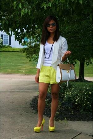 yellow heels - white blazer - yellow shorts