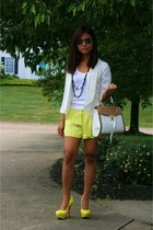 yellow heels - white blazer - yellow shorts