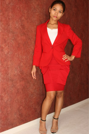 red blazer - white top - red peplum gaga skirt