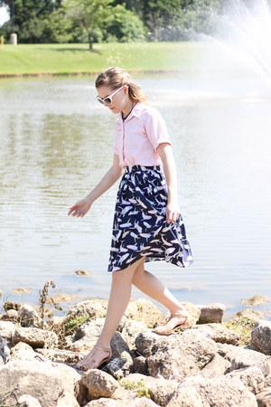modcloth skirt - vintage shirt - Sam Moon sunglasses - Shoe Department sandals