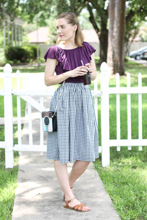 Sam Moon purse - thrifted shirt - handmade skirt - modcloth sandals