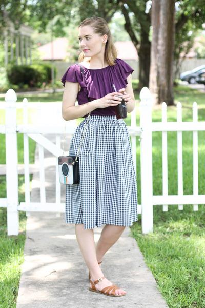 Sam Moon purse - thrifted shirt - handmade skirt - modcloth sandals