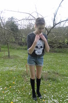 H&M shorts - new look socks - skull lace H&M jumper - new look wedges
