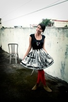 unbrandded shirt - skirt - tights - unbrandded boots - minority necklace