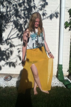 white Zara top - yellow Vero Moda skirt