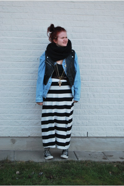 black scarf - jeans jacket - black top - black H&amp;M vest - black and white skirt