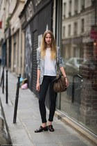 brown bag - black jeans - heather gray blazer - brown clogs - white t-shirt