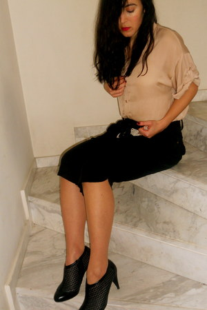 black Office boots - peach Topshop shirt - black Beyouk pants