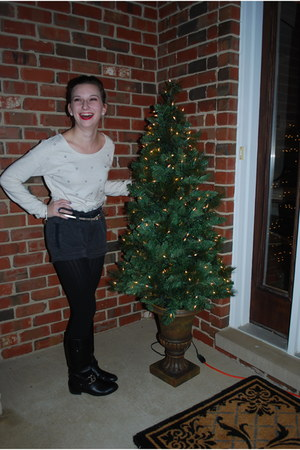 cream rhinestone Aerie sweatshirt - black tall boots Ivanka Trump boots