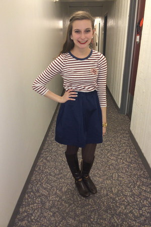 navy J Crew skirt - dark brown tall boots Michael Kors boots