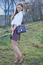 dark brown vintage purse - bronze Lasocki boots - brown vintage skirt