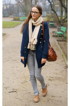 tawny Lasocki boots - navy Top Secret coat - periwinkle troll jeans