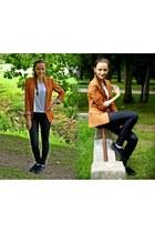 Bershka blazer - Pepe Jeans jeans - Vans flats