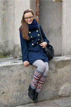 ring - navy Top Secret coat - gray tights - black leather vintage bag