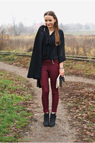 black Lasocki boots - black vintage coat - black H&M blouse - ruby red pants