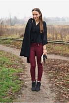 black Lasocki boots - black vintage coat - black H&M blouse - ruby red pants