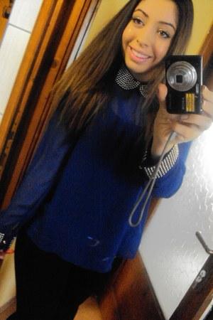 blue Zara shirt - black Zara tights