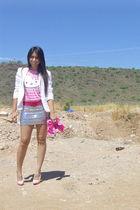 pink Christian Louboutin shoes - white calvin klein blazer - pink Sanrio t-shirt