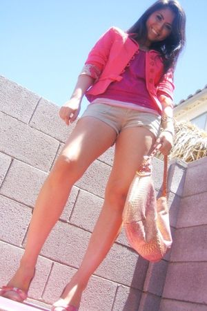beige hollister shorts - pink Rebels shoes - paolo masi purse - ice blazer - svd