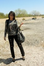 Guess jeans - Gucci bag - leather Charter Club vest - jean paul gaultier top - s