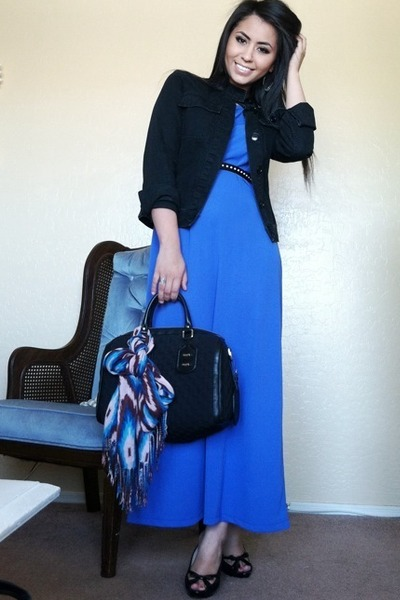 violet vintage versace dress - black denim Club Monaco jacket