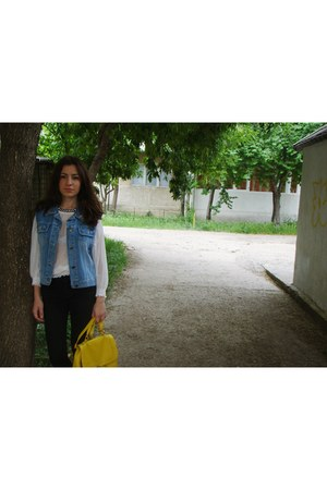 navy DIY vest - black new look jeans - white H&M shirt - yellow H&M bag
