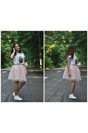 light pink DIY skirt - ivory Zara t-shirt - ivory nike sneakers