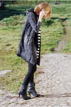 black new look boots - gray jacket - black leggings - black forever18 necklace