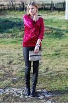 ruby red KappAhl blouse - black new look boots - light brown vintage bag