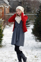 ruby red H&M jumper - black humanic boots - gray H&M dress