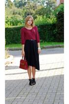 maroon Sisley bag - black skirt - maroon vintage blouse - black Quazi heels