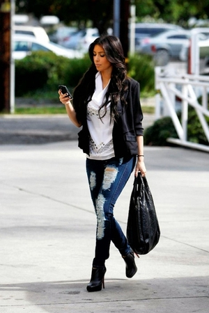 blazer - top - jeans - boots