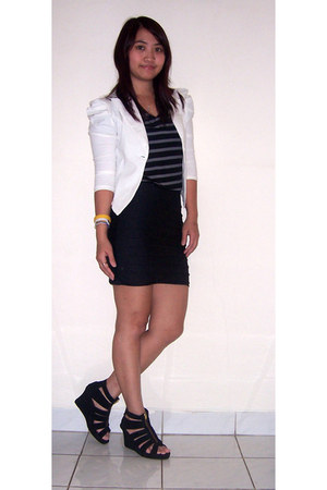 white blazer - black bandage skirt