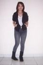 Black-adriana-lima-boots-gray-zara-jeans
