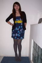 blue next skirt - gray boots - black cardigan - gold belt