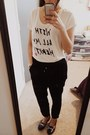 Off-white-old-navy-t-shirt-black-old-navy-pants-blue-kurt-geiger-loafers