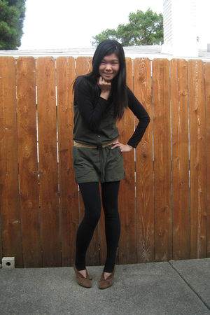 green Forever21 shirt - black Frenchi shirt - beige belt - brown shoes