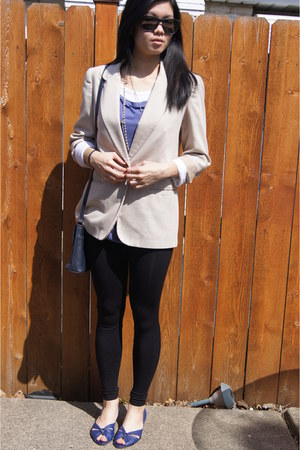 black Forever 21 leggings - beige thrifted blazer - navy thrifted liz claiborne